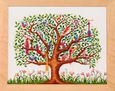 Quirky fun design of beautiful bright birds in a tree x (actual stitched area) This chart is supplied in PDF format Cross Stitch Designs, Cross Stitch Patterns, Embroidery Thread, Embroidery Designs, Memory Tree, Cross Stitch Tree, Bird Tree, Drawing, Handmade Crafts