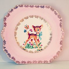 Pretty & Pink Deer Large China Plate