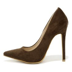 Precisely Right Brown Suede Pointed Pumps ($34) ❤ liked on Polyvore featuring shoes, pumps, heels, brown, suede pointed-toe pumps, pointed toe stilettos, pointy-toe pumps, high heels stilettos and suede pumps