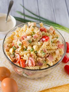 Make your day better with this Chicken Caesar Pasta Salad loaded with bacon, boiled eggs, and more! #sponsored