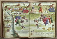 An Italian Renaissance military camp   From Paolo Santini's 15th-century engineering book, De Machinis, ff. 13v-14r.