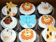 Safari/Jungle/Zoo  animals 2D Fondant Toppers for by onebitesweet, $38.00