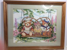 "Completed Teddy Bear Backyard Nursery Swing Cross Stitch Framed 15"" X 12"" Barton"