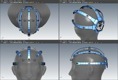 4-view screenshot of the OpenBCI 3D-Printable Headset digital prototype in Autodesk Maya