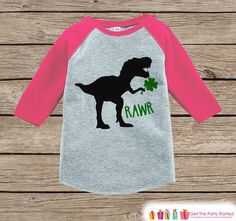Now available on our store: Girls St Patricks.... Check it out here! http://7ate9apparel.com/products/girls-st-patricks-day-outfit-dinosaur-st-paddys-day-shirt-or-onepiece-girls-lucky-shirt-baby-toddler-youth-grey-dino-clover-shirt?utm_campaign=social_autopilot&utm_source=pin&utm_medium=pin