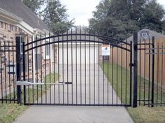 Gate Openers With Access Control For A Wood Gate, Metal Gate, Wrought Iron Gate, Chain Link Gate, Driveway Gate Diy Driveway, Gates Driveway, Chain Link Fence Gate, Security Gates, Hundred Acre Woods, Sliding Gate, Wrought Iron Fences, Front Entrances, Iron Gates