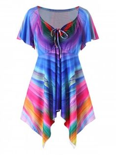 Plus Size Rainbow Empire Waist T-Shirt Women Summer Casual V Neck Short  Sleeves Ladies Tops Pullover T Shirt Top cfe1b2c8f