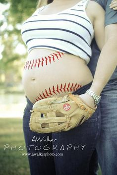 Maternity photography pose / idea: baseball tummy. Houston maternity photography.