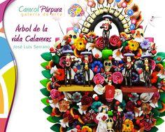 Arbol de la Vida: calaveras mariachi - 17cm, José Luis Serrano.   Hermosa pieza de arte que puedes conocer en nuestras tiendas Caracol Púrpura