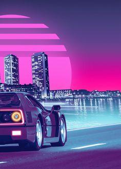Ferrari F40, Retro Waves, Cyberpunk, Plum Purple, Poster Prints, Studio, Abstract, Creative, Metal