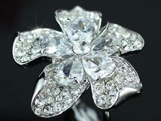 White Gold Queen Flower Austrian Crystal Ring