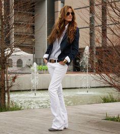 Striped Shirt, blue blazer, white jeans