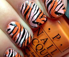 Nails by an OPI Addict. Tiger Stripe Nails, Tiger Nails, Tiger Stripes, Funky Nails, Cute Nails, Pretty Nails, Best Nail Polish, Polish Nails, Cute Nail Designs