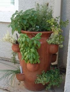Love it! Large strawberry planter for planting herbs.