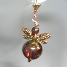 Red Swirl Bead Dragonfly Goldplated Leverback Earrings