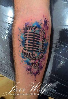 Watercolor + Sketch Microphone Tattoo.  Tattooed by @javiwolfink  www.javiwolf.com