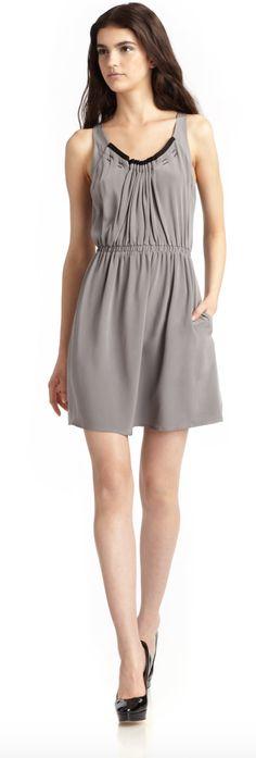 $56 Madison Marcus Gray Sleeveless Silk Dress