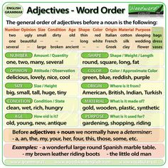 Correct Word Order of Adjectives in English - This is a slightly more advanced version of Adjective Word Order as we have included Number and Condition. #Adjectives #WordOrder #ELA #EnglishLanguage #LearnEnglish #Grammar