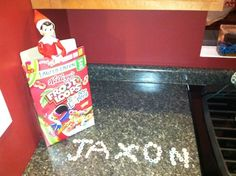 Elf on the Shelf likes Sugar Cereal  Our Elf, Hohe brought Jaxon cereal (which mommy never lets him have) and a special message.