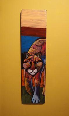 Leland Holiday, acrylic painting on wood, big cat, mountain lion, TG2-Leland208