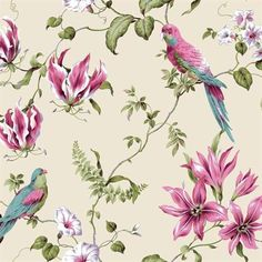 Pink and Off White Tropical Floral Wallpaper.