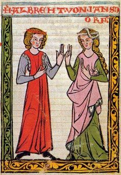 12th century illumination showing clothing of the time...Scottland. Ok it's a 14th century illumination of the 12th century clothing. Cyclas and under dress/tunic. by Janet McNaughten