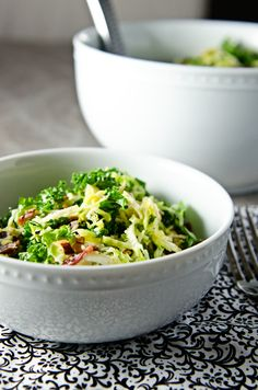 Kale and Brussels Sprouts Salad- kale, Brussels sprouts, Parmesan cheese, almonds, olive oil, lemon juice, Dijon mustard, shallots, honey, garlic, s bacon optional