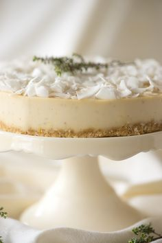 "Raw Lemon Thyme Pine Nut ""Cheesecake"" (Vegan, Sugar Free, Dairy Free, Gluten Free, Paleo) Use honey or maple syrup for paleo! Raw Vegan Desserts, Raw Vegan Recipes, Vegan Treats, Paleo Dessert, Vegan Foods, Delicious Desserts, Dessert Recipes, Drink Recipes, Yummy Food"