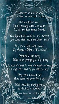 Halloween Witches Tea Poem and invitation. Great wording for a girlfriends witches tea or Halloween Bunco.