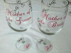 diy wedding gifts for bride and groom | ... Mother of the Bride or Groom gift wine glass, wedding gift for parents