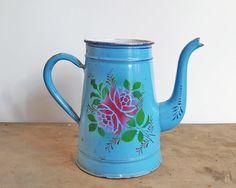Vintage Pitcher - Vintage Coffee Pot - Vintage Enamelware - Enamel Pitcher - Blue Pitcher - Blue Coffee Pot - Vintage French Enamelware