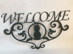 Pineapple Welcome sign  Wall hanger  Home by LANDDelements on Etsy