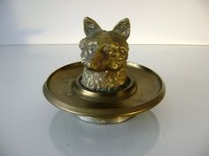Antique Figural Foxhead Brass Inkwell by StylishJumble on Etsy