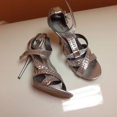 Sexy silver heels  Promise  silver heels  size 10  excellent condition  Promise Shoes Heels
