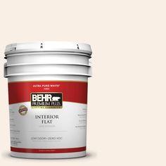 BEHR Premium Plus 5-gal. #pwn-14 Chenille White Zero VOC Flat Interior Paint