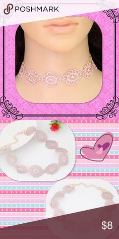 Hollow Flowers Pink Lace Choker How pretty is this to wear with your favorite boho outfit? Add a pretty hat and your ready for the festival! Jewelry Necklaces
