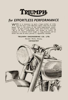 Throwback Thursday - Classic Triumph Motorcycle Poster for the man cave. Just in time for Father's Day!