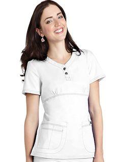 Adar Pop-Stretch Junior Fit Taskwear Empire Henley Scrub Top White Scrub Tops, White Scrubs, Medical Uniforms, Work Uniforms, Scrubs Uniform, Nursing Clothes, Medical Scrubs, Henley Top, Workout Tops