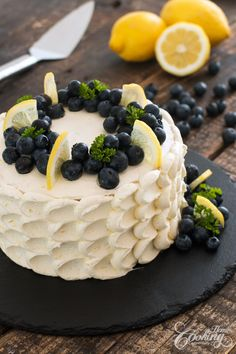 Blueberry Lemon Cake is a delicious refreshing cake perfect for summer. Three layers of blueberry buttery cake bursting with lemon flavor and filled with a delicate lemon swiss meringue buttercream. Food Cakes, Cupcake Cakes, Cupcakes, Meringue Cake, Swiss Meringue, Buckwheat Cake, Cake Recipes, Dessert Recipes, Blueberry Cake