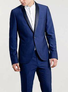 Cobalt Skinny Fit Tuxedo - Top Man