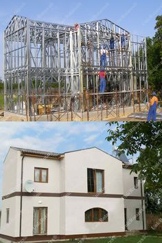 Portfolio of The Lightweight Steel Structures Factory - UnicRotarex®. Steel houses and industrial buildings done by our technology in the entire world. Low Cost Housing, Garage Apartments, Steel House, Metal Structure, Steel Buildings, Apartment Design, Steel Frame, House Design, House Styles