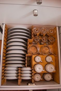 A drawer for permanent storage of breakable dishes for when the bus is on the move.
