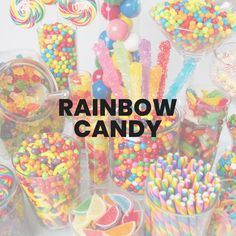 Paint your mouth with all the colors of the rainbow with our color assorted and rainbow candy! Blues, greens, reds, and more all mingle in sweet harmony. Dumbo Baby Shower, Candy Board, Rainbow Candy, Rainbow Colors, All The Colors, Sweets, Party, Food, Rainbow Colours