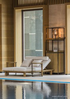 U Haul Furniture Dolly Hotel Swimming Pool, Indoor Swimming Pools, Spa Lounge, Lounge Areas, Spa Interior, Interior Design, Pool Bed, Pool Furniture, Furniture Dolly
