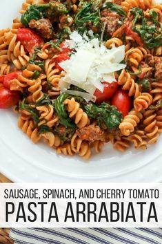 Sausage, Spinach, and Cherry Tomato Pasta Arrabiata - Slender Kitchen