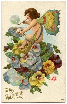 A collection of 8 Vintage Valentine Fairy Images. Valentine's Day isn't just for Cherubs, these cute Fairies are ready to spread some love as well! Victorian Valentines, Vintage Valentine Cards, Vintage Cards, Vintage Postcards, Vintage Images, Graphics Fairy, Images Victoriennes, Valentines Day Clipart, Valentine Cupid