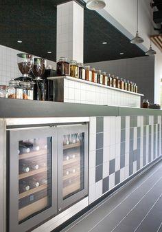 Interieur restaurant Stenden University   Achterbosch Architecten Cafe Restaurant, Wine Rack, Liquor Cabinet, Tiles, Studio, Storage, Restaurants, Furniture, Home Decor