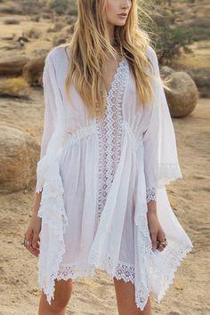 8d9812d49454 Women White Crochet Hollow Out Bat Sleeve Asymmetric Sexy Cover Up Beach  Dress - One Size