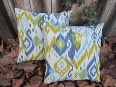 Summer Sale: Blue Ikat Indoor/Outdoor Pillow Covers 20x20  Inches Decorative Pillow Throw Pillow
