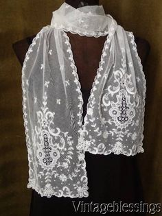 """Stunning Beautiful Antique Tambour French Net Lace Scarf 70"""" x 8"""" www.Vintageblessings.com"""